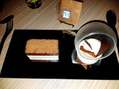 Gateau Mousseux poire chocolat, sorbet poire.